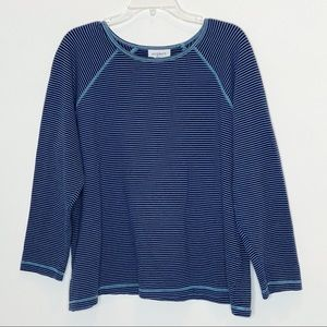 Avenue Navy Striped Long Sleeve Knit Top